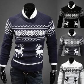 6368 Thin Slim Fit Christmas Deer Pattern Sweater