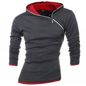 6491 Size Inclined Zipper Hood Design Sweater