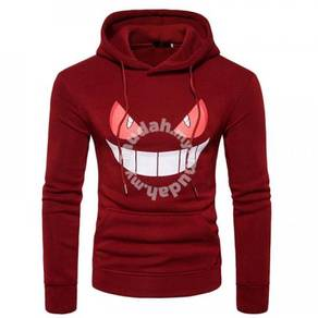 8543 Face Design Printed Casual Hoodie Sweater