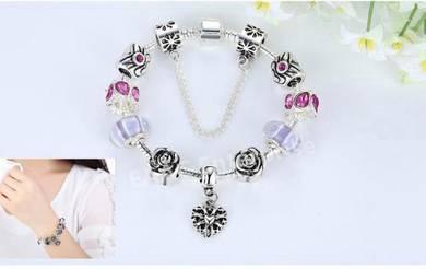 Valentine Bamoer 925S Silver Charm Bracelet Safety