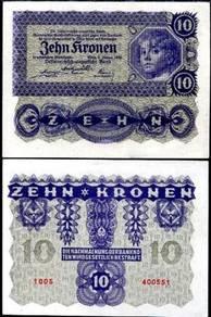 AUSTRIA 10 KRONEN 1922 P 75 unc