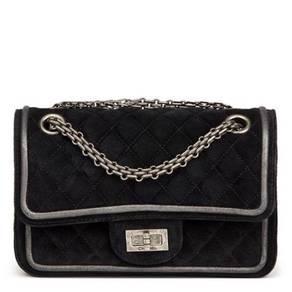 Chanel Black Suede Metallic Calfskin Quilted 2.55