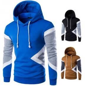 5118 Korean Men Stitching Hooded Sweater Jacket