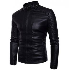 8852 Dark Color Casual Synthetic Leather Jacket