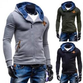 6425 Slim Fit Hooded Oblique Zipper Sweater