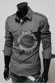 Black Epaulet Dual Pocket Long Sleeve Office Shirt