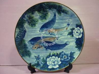 Vintage Japanese Koi Fish Platter Plate Sun Cerami