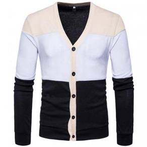 8556 Triple Color Casual Button Knitted Jacket