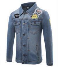 6382 Men Embroidered Denim Coat Jacket