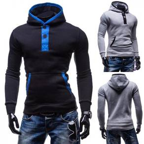 6390 Double Sided Oblique Pocket Hooded Sweater