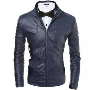 6492 Collar Casual Slim Fit Leather Coat Jacket