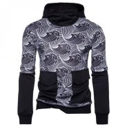 8585 Wave Printed Large Pocket Hooded Sweater