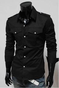 Grey Epaulet Dual Pocket Long Sleeves Office Shirt