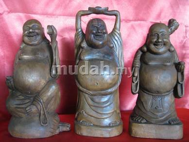 Aipj hand carved wood laughing Buddha 3pcs set