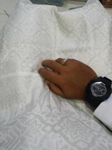 Samping nikahh songket Putih sulam silver