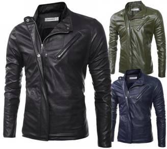 6414 Men Upright Collar Motorcycle Leather Jacket