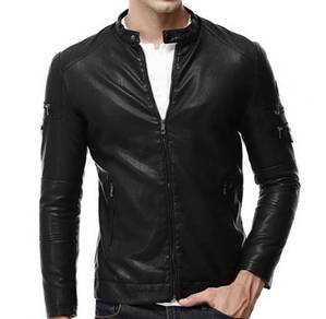 8841 Synthetic Leather Zipper Comfy Jacket