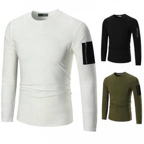8440 Patch Sleeve Solid Colors Crew Neck Sweater