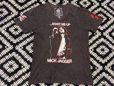 Rolling stones t shirt mick jagger v neck size m