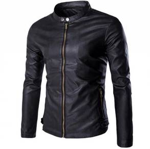 6116 Korean Men's Stand Collar PU Leather Jacket