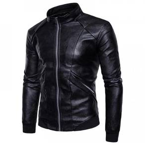 8866 Collar Trendy Solid Color Leather Jacket