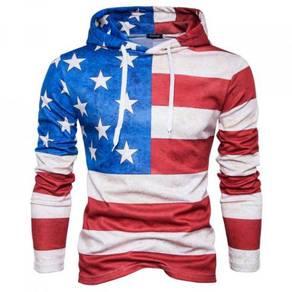 8446 Flag Design Printed Casual Hoodie Sweater