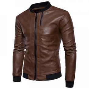 8894 Solid Color Slim Fit Zipper Leather Jacket