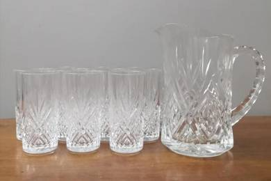 Cawan jag Crystal pitcher jug glass cup drink set