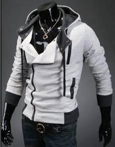 J0373 Light Grey Hoodie Zipper Man Sweater Jacket