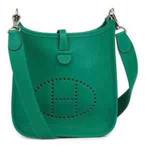 Hermes Vert Vertigo Clemence Leather Evelyne III