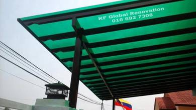 Mildsteel Awning with Polycarbonate Roofing & Gate