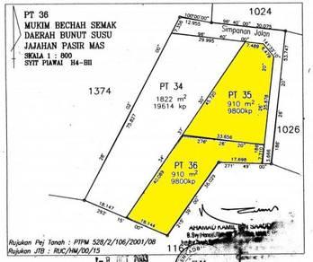 Tanah Lot 9800 kps Binjai Bunut Susu Pasir Mas Berdekatan Tendong