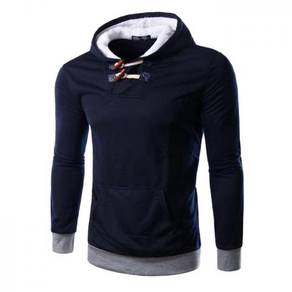 6381 Plain Solid Color Slim Fit Hooded Sweater