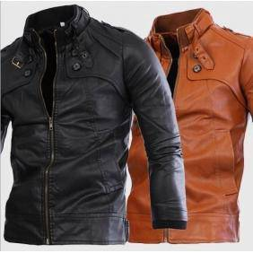 6319 PU Leather Collar 4 Buttons Washed Jacket