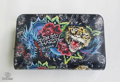 Briefcase leather bag clutch bag ed hardy