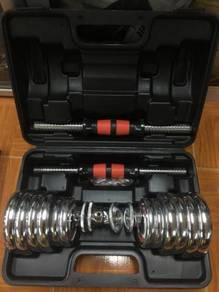 Dumbell set 15KG box CHROME pakej CONNECTOR 35cm