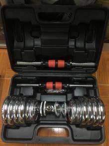 Dumbell set 15KG box chrome ready stok ada 100 box