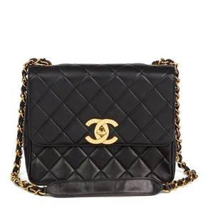 Chanel BLACK QUILTED LAMBSKIN VINTAGE XL CLASSIC