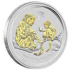 2016 year of the monkey 1oz silver gilded edition