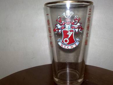 Cawan antik antique BECK'S glass cup