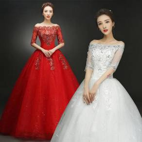 Red white gold puffy wedding dress RB0545