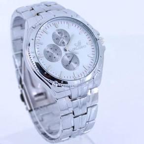 Luxury Silver Strap Fashion Men Quartz Wristwatch
