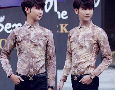 M76504 Kemeja Floral Coffee Men Long-Sleeved Shirt
