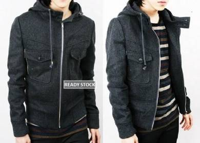 0342 Dark Grey Hooded Swagger Thick Sweater Jacket