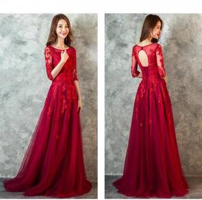 Red long sleeve wedding prom dress gown RBP0685