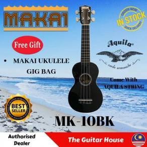 Makai MK-10BK Black Soprano Mahogany Ukulele w/Bag