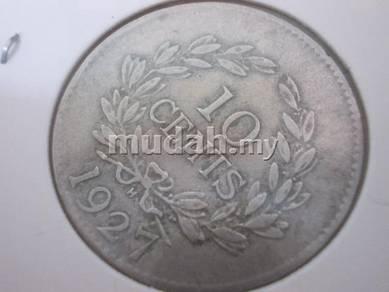 Old Sarawak 1927 10 cent brooke coin