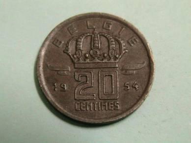 Belgium 20 Centimes 1954