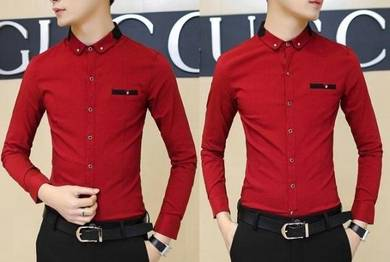 M5061 Stylish Collar Red Formal Long-Sleeved Shirt