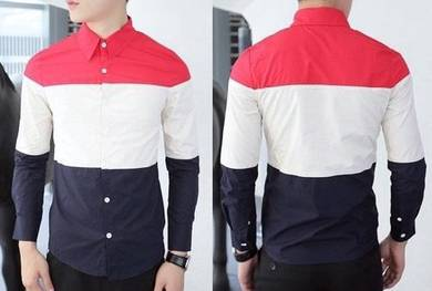 M0516 Blue Red Cream Men Formal Long-Sleeved Shirt